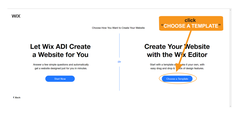 Choose how you want to create your Wix website.